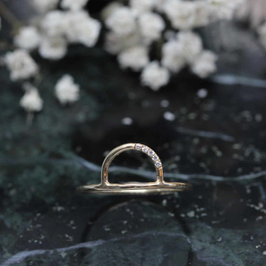 3 1 1 // white diamond waxing moon ring
