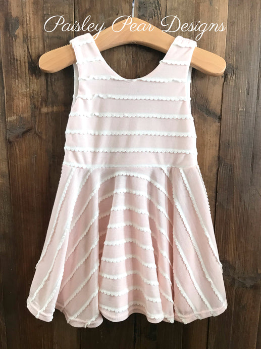 Pink and White Scallop Twirl Dress