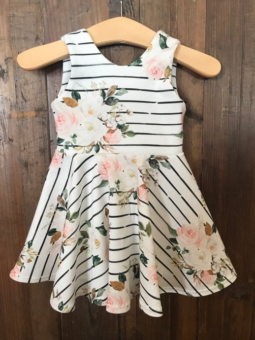 Magnolia Watercolor Floral Twirl Dress