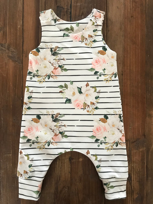 Magnolia Watercolor Organic Knit Romper