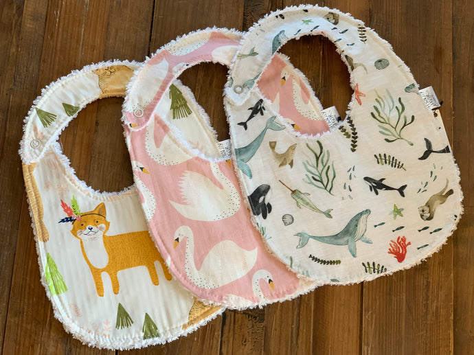 Chenille Back Bibs- 16 Fabrics to choose from
