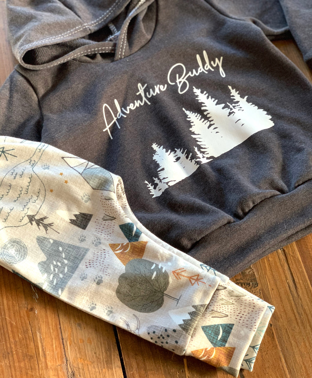 Adventure Buddy Charcoal Gray Hoodie