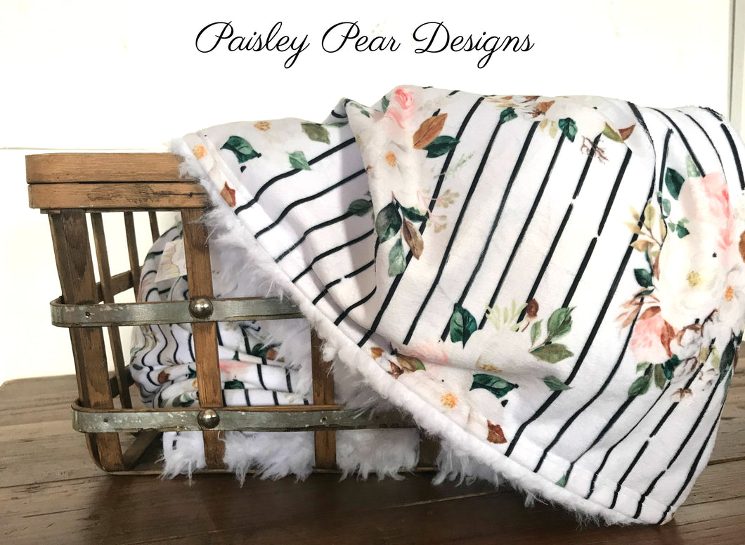Magnolia Floral Striped-Luxurious Faux Fur/Minky Blanket