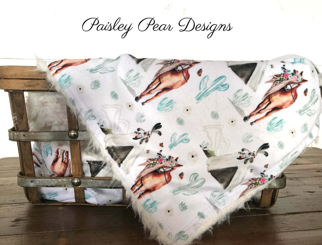 Boho Horse Floral-Luxurious Faux Fur/Minky Blanket