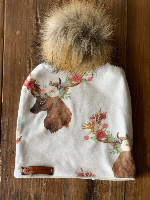 Fall Floral Deer Beanie Hat