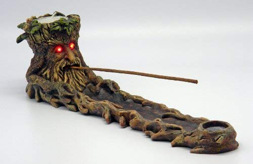 Green Man Tree Incense Burner w/ Motion Dectector LED Light Eyes