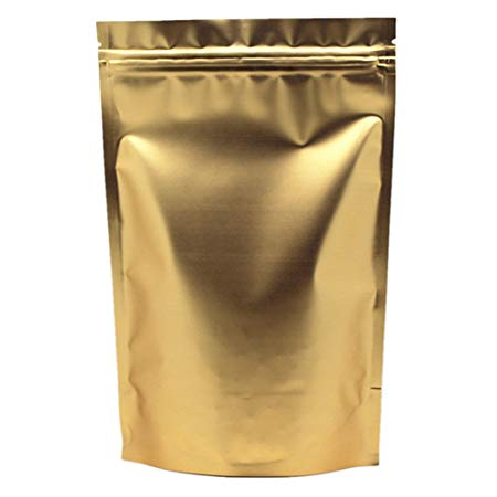 Zip Lock Stand Up Pouches Aluminum Foil Coffee Bags Large Reusable Golden Bag for Food Storage