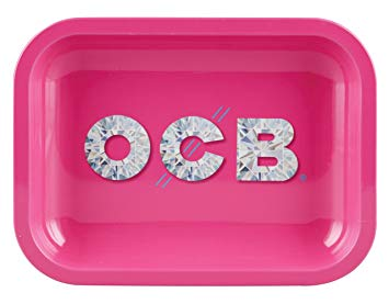 OCB - diamonds - rolling tray - medium - pink - tray