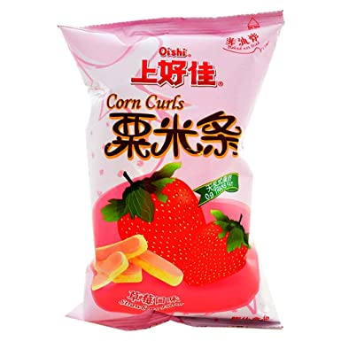 OISHI Corn Curls (Strawberry Flavor) 40g