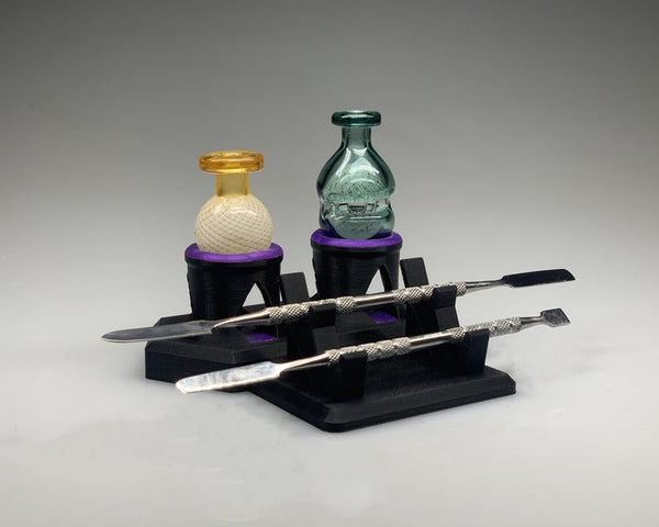 Double Dabber and Carb Cap Rack Mini Combo Station - Black & Purple/ Stand for carb caps / bubble caps / dab tool / dab accessory