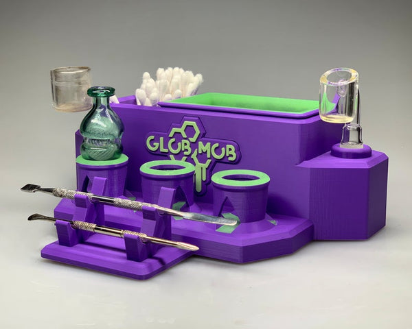Mega Combo Station by Glob Mob -Purple / carb cap holder, dab tool stand, banger, slide, wand, dab accessories, weed accessories