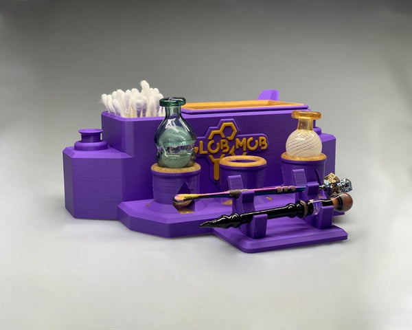 Mega Combo Station by Glob Mob - Gray / carb cap holder, dab tool stand, banger, slide, wand, dab accessories, weed accessories
