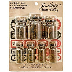Advantus Glass Idea-Ology Corked Apothecary Vials 7/Pkg-Amber W/Oddities Label Stickers