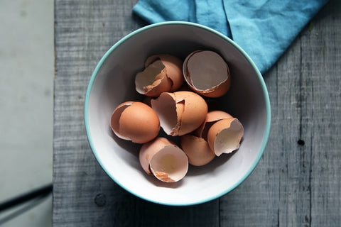 Blue and white bowl with brown eggshells inside