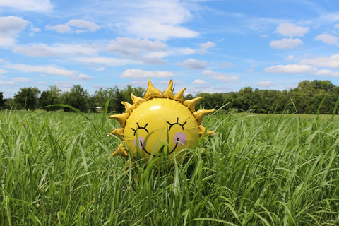 inflatable yellow balloon in a green field