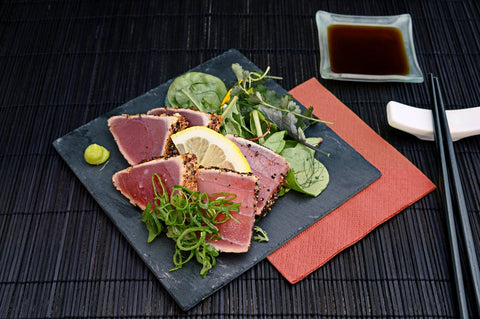 tuna and salad on a plate