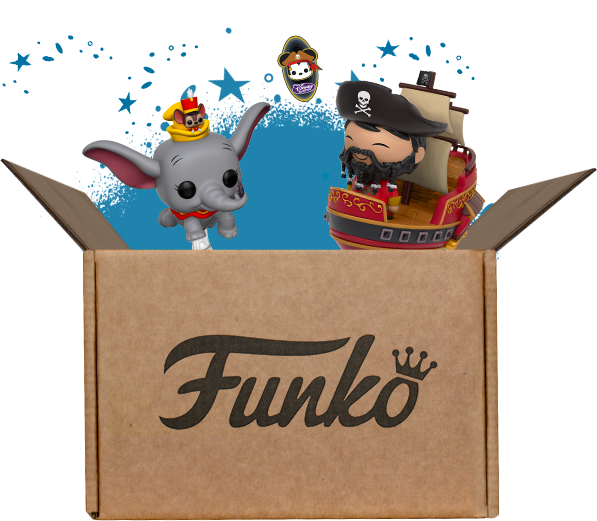 Funko box exploding with Disney toys