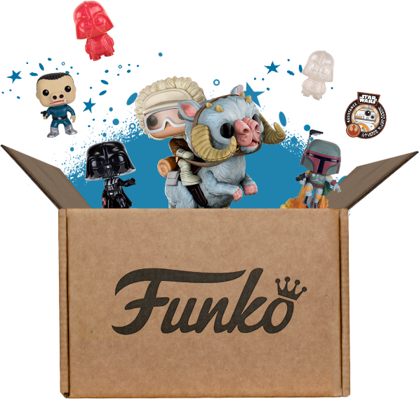 Funko box exploding with Star Wars toys