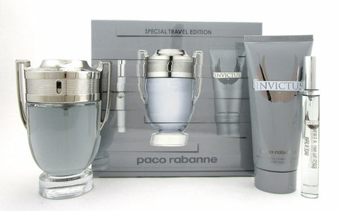 Invictus by Paco Rabanne Men 3 Piece Gift Set