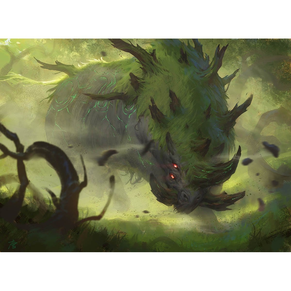 Gnarlback Rhino Print - Print - Original Magic Art - Accessories for Magic the Gathering and other card games