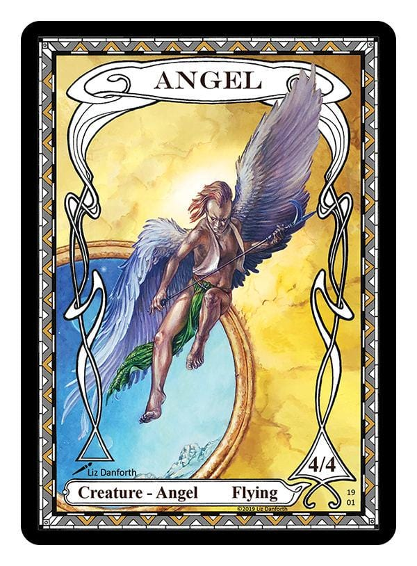 Angel Token (4/4) by Liz Danforth - Token - Original Magic Art - Accessories for Magic the Gathering and other card games