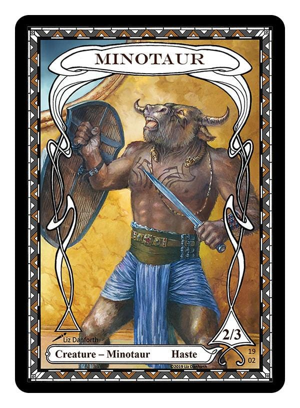 Minotaur Token (2/3) by Liz Danforth - Token - Original Magic Art - Accessories for Magic the Gathering and other card games