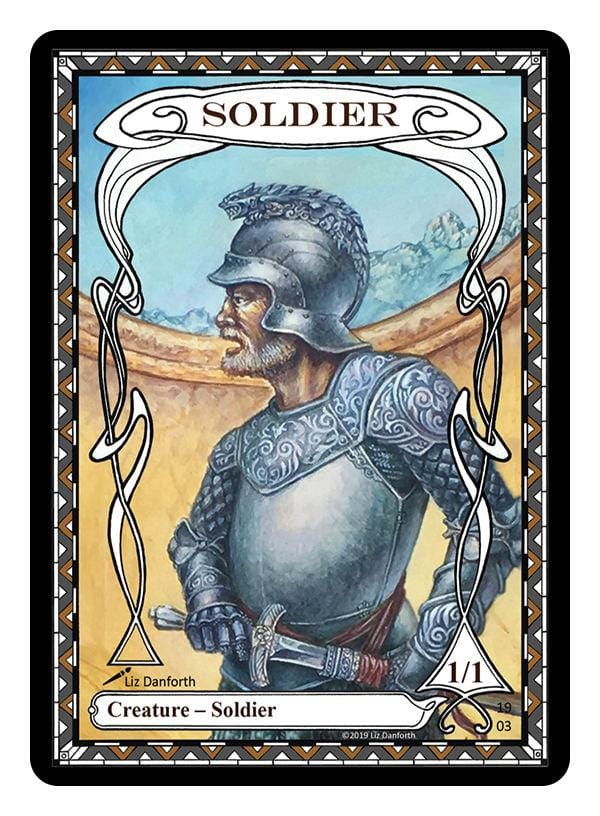 Soldier Token (1/1) by Liz Danforth - Token - Original Magic Art - Accessories for Magic the Gathering and other card games