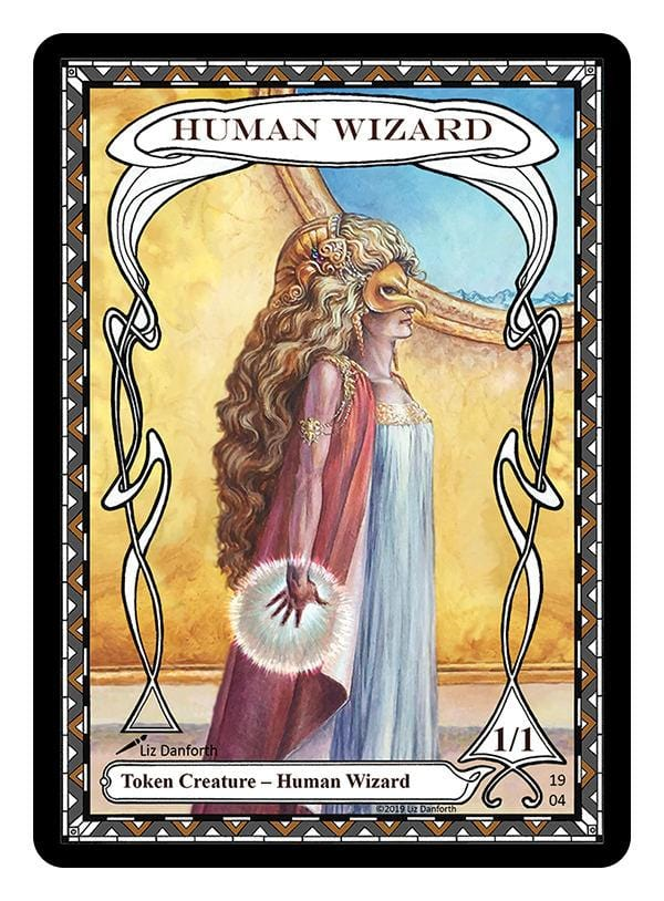 Human Wizard Token (1/1) by Liz Danforth - Token - Original Magic Art - Accessories for Magic the Gathering and other card games