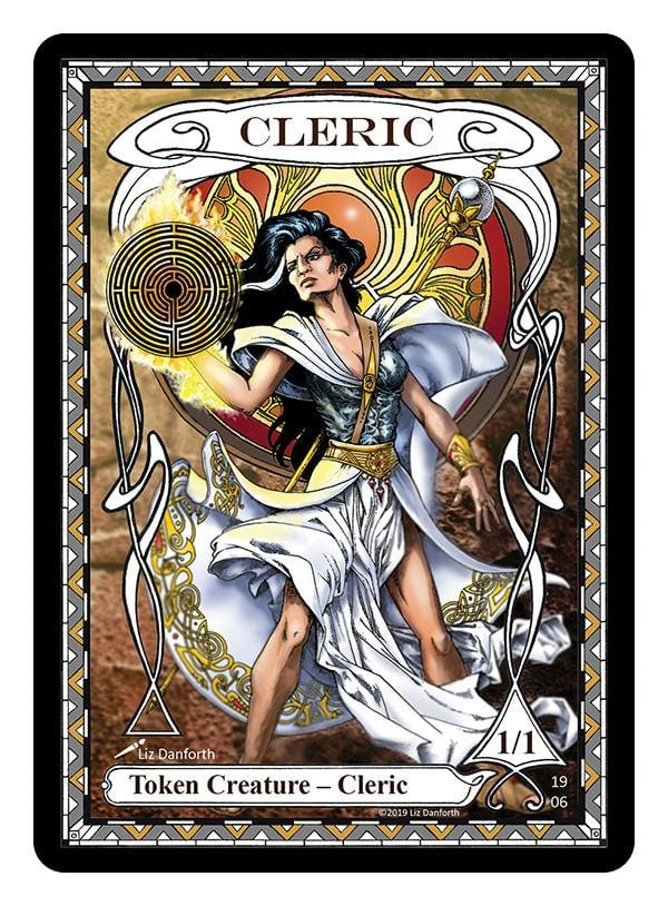 Cleric Token (1/1) by Liz Danforth - Token - Original Magic Art - Accessories for Magic the Gathering and other card games