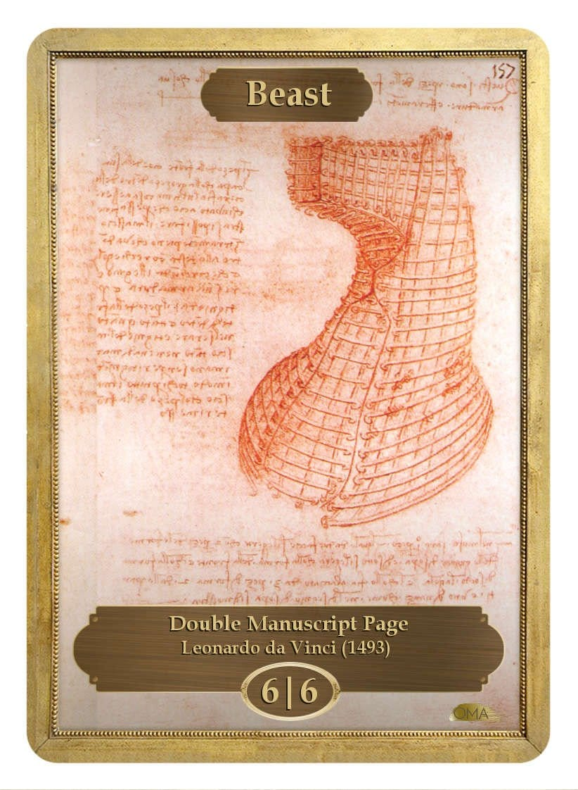 Beast Token (6/6) by Leonardo da Vinci - Token - Original Magic Art - Accessories for Magic the Gathering and other card games