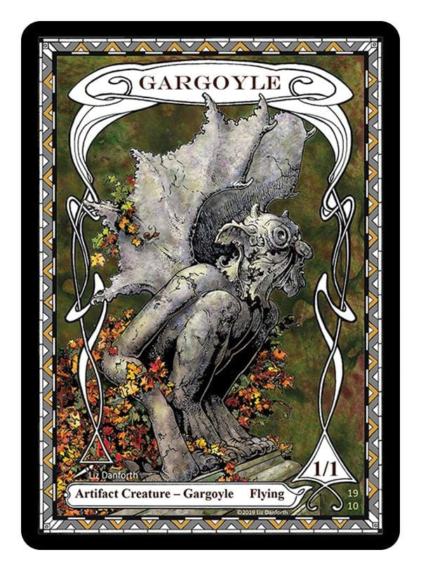 Gargoyle Token (1/1 - Flying) by Liz Danforth - Token - Original Magic Art - Accessories for Magic the Gathering and other card games
