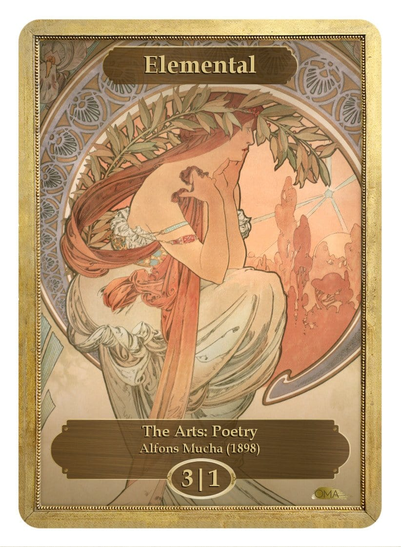 Elemental Token (3/1) by Alfons Mucha - Token - Original Magic Art - Accessories for Magic the Gathering and other card games