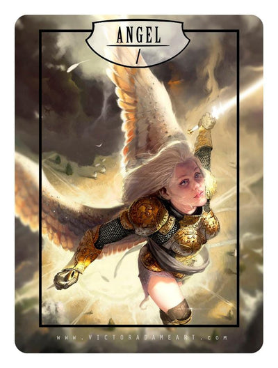 Angel / Spirit Token by Victor Adame Minguez - Token - Original Magic Art - Accessories for Magic the Gathering and other card games