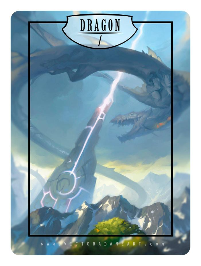 Dragon Token by Victor Adame Minguez - Token - Original Magic Art - Accessories for Magic the Gathering and other card games