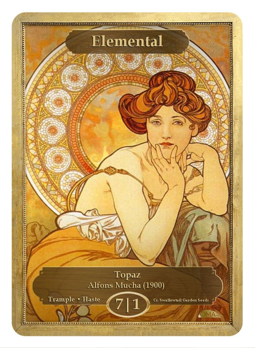 Elemental Token (7/1 - Trample, Haste) by Alfons Mucha - Token - Original Magic Art - Accessories for Magic the Gathering and other card games