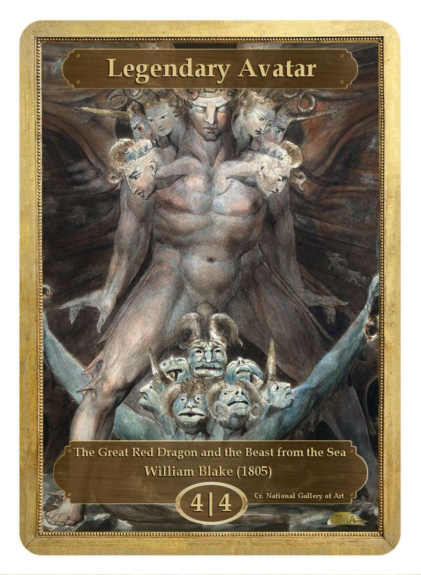 Legendary Avatar Token (4/4) by William Blake - Token - Original Magic Art - Accessories for Magic the Gathering and other card games