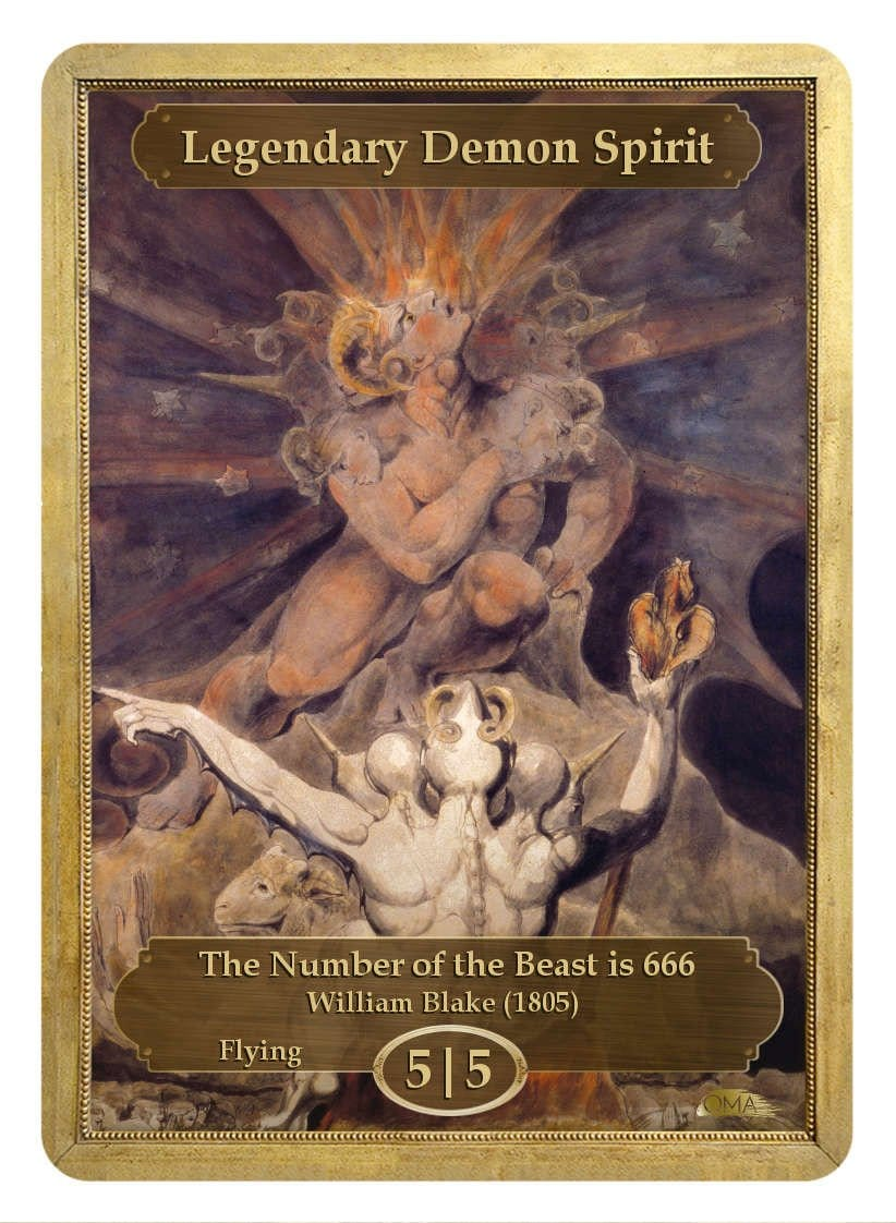 Legendary Demon Spirit Token (5/5) by William Blake - Token - Original Magic Art - Accessories for Magic the Gathering and other card games