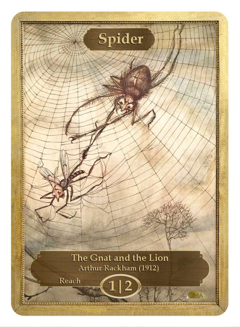 Spider Token (1/2) by Arthur Rackham - Token - Original Magic Art - Accessories for Magic the Gathering and other card games