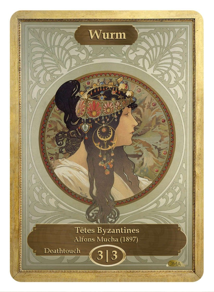 Wurm Token (3/3 - Deathtouch) by Alfons Mucha - Token - Original Magic Art - Accessories for Magic the Gathering and other card games