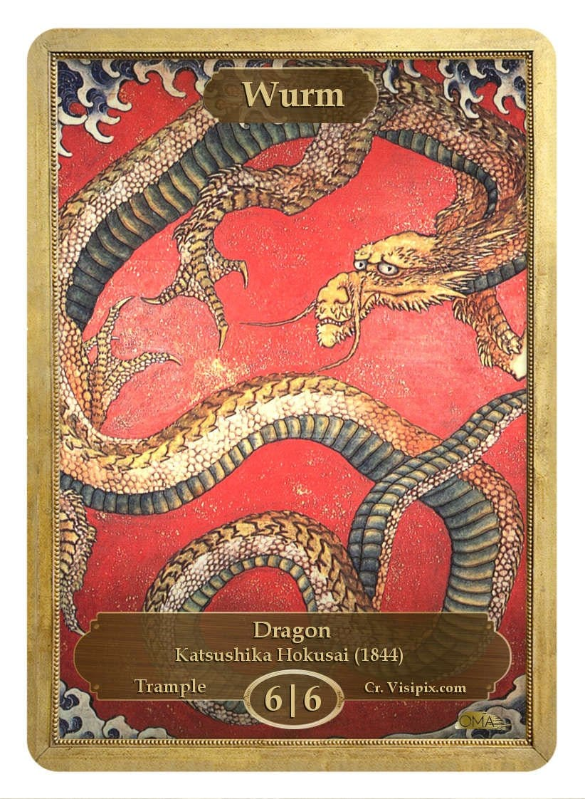 Wurm Token (6/6 - Trample) by Katsushika Hokusai - Token - Original Magic Art - Accessories for Magic the Gathering and other card games