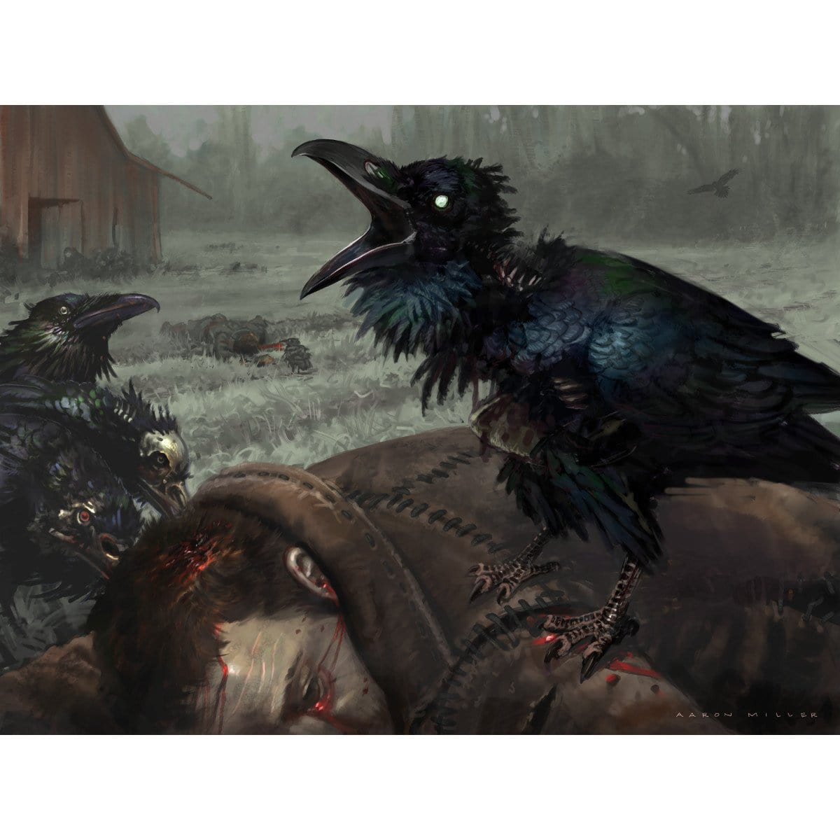 Carrion Crow Print - Print - Original Magic Art - Accessories for Magic the Gathering and other card games