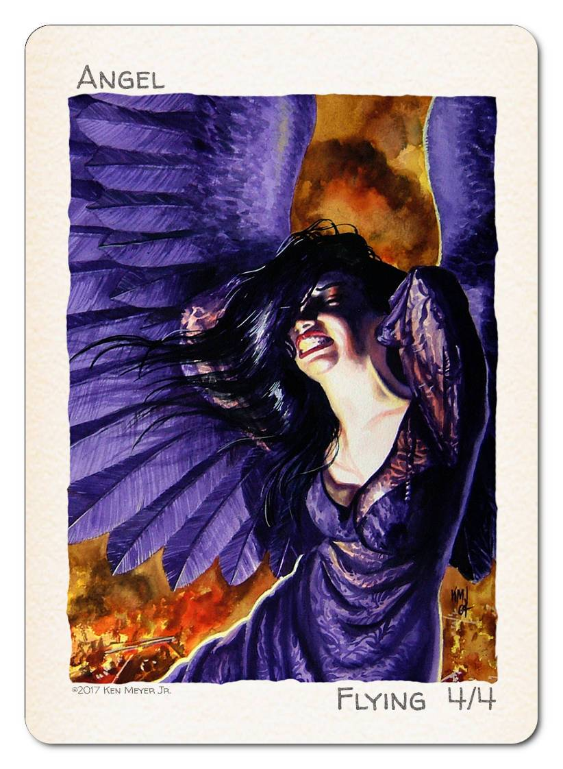 Angel Token (4/4 - Flying) by Ken Meyer Jr. - Token - Original Magic Art - Accessories for Magic the Gathering and other card games