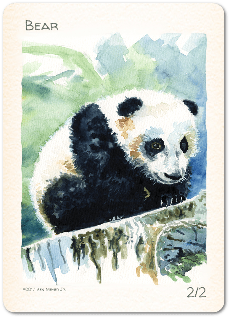 Bear Token (2/2) by Ken Meyer Jr. - Token - Original Magic Art - Accessories for Magic the Gathering and other card games