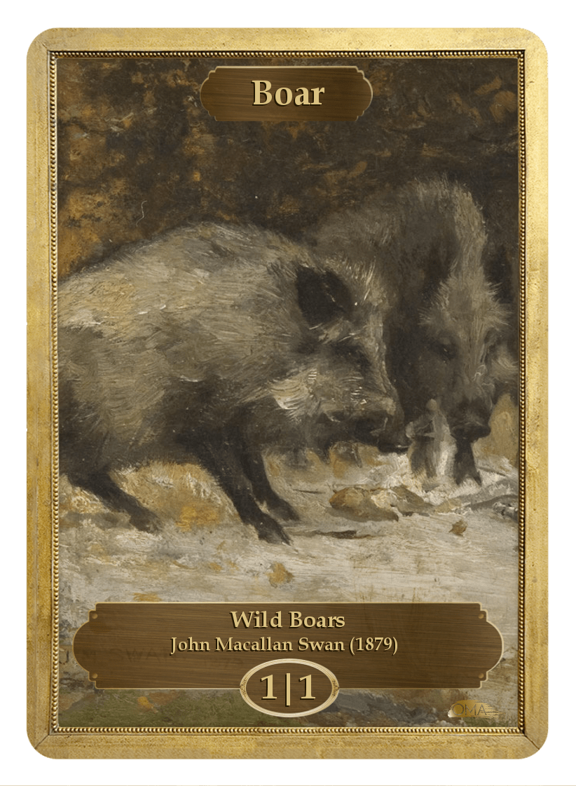 Boar Token (1/1) by John Macallan Swan - Token - Original Magic Art - Accessories for Magic the Gathering and other card games