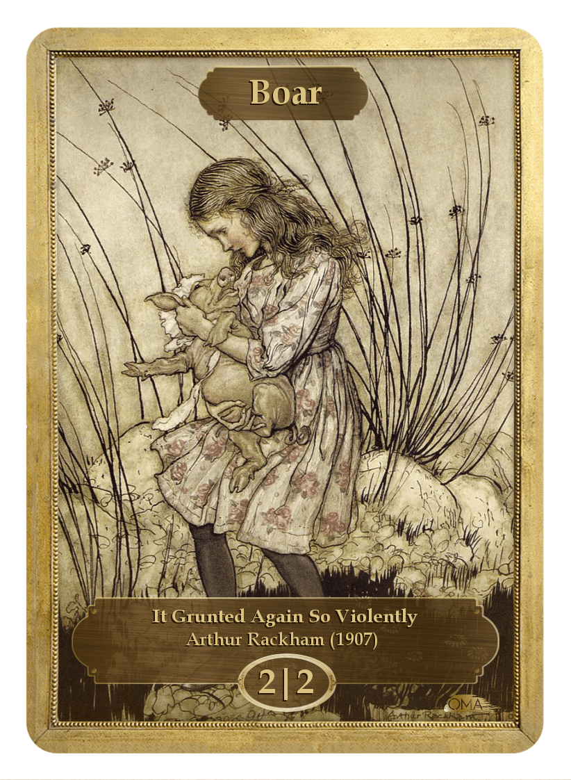 Boar Token (2/2) by Arthur Rackham - Token - Original Magic Art - Accessories for Magic the Gathering and other card games