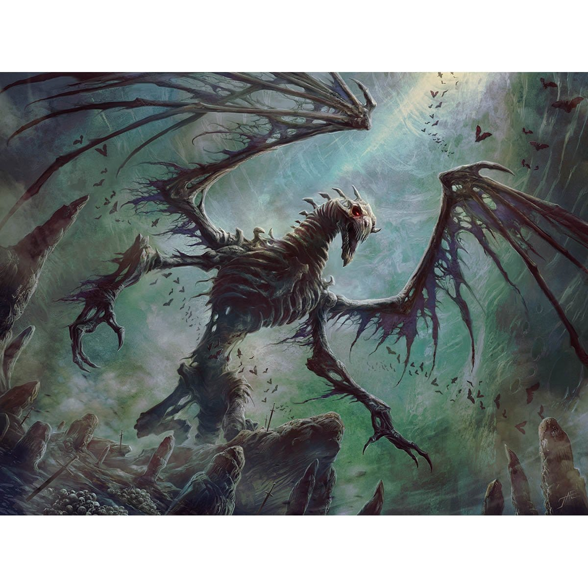 Bone Dragon Print - Print - Original Magic Art - Accessories for Magic the Gathering and other card games