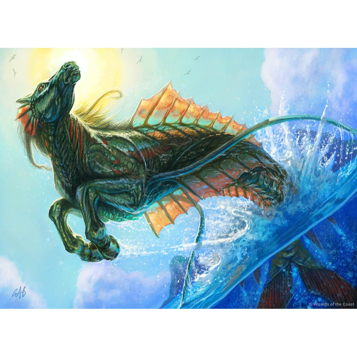 Breeching Hippocamp Print - Print - Original Magic Art - Accessories for Magic the Gathering and other card games