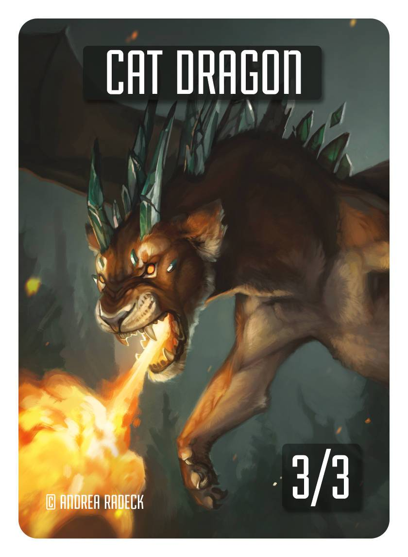 Cat Dragon Token (3/3) by Andrea Radeck