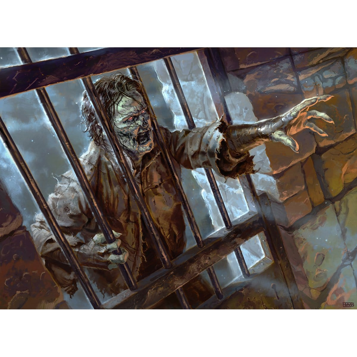 Caged Zombie Print
