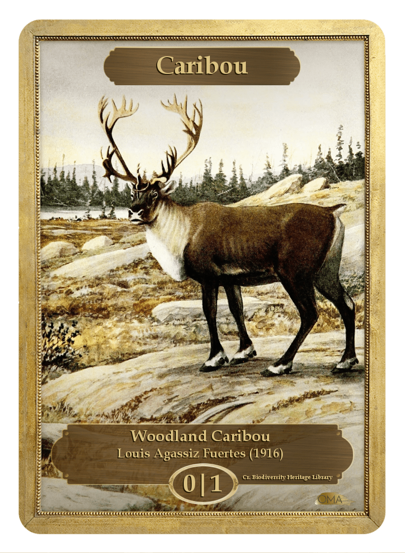 Caribou Token (0/1) by Louis Agassiz Fuertes - Token - Original Magic Art - Accessories for Magic the Gathering and other card games